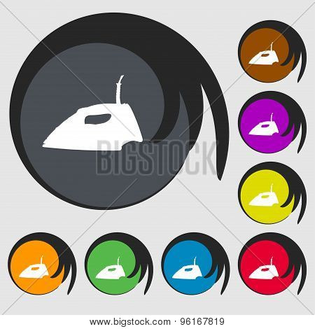 Iron Icon Sign. Symbol On Eight Colored Buttons. Vector