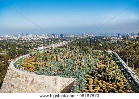 LOS ANGELES, CALIFORNIA - JUNE 1, 2015 : Exteriors and terraces of the Getty Center museum, view on
