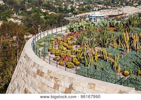 LOS ANGELES, CALIFORNIA - JUNE 1, 2015 : Exteriors and terraces of the Getty Center museum, in Los A