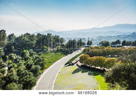 Beautiful summer mountain road. Los Angeles view