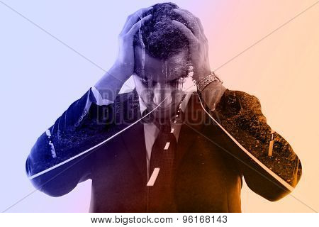double exposure of business man and nature road way. Portrait of a young businessman looking depressed from work isolated over white background in studio