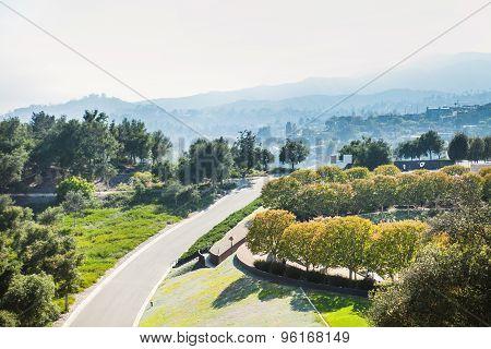 Beautiful summer mountain road. Los Angeles landscape