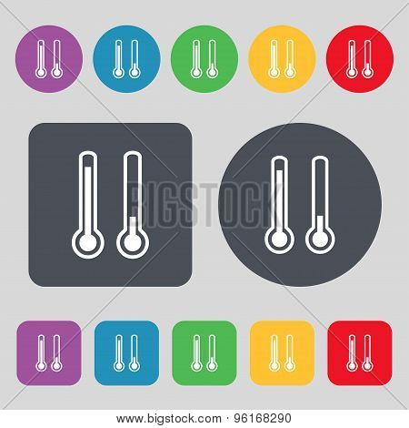 Thermometer Temperature Icon Sign. A Set Of 12 Colored Buttons. Flat Design. Vector