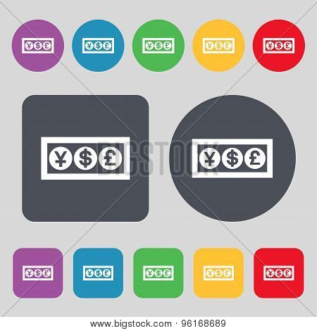 Cash Currency Icon Sign. A Set Of 12 Colored Buttons. Flat Design. Vector