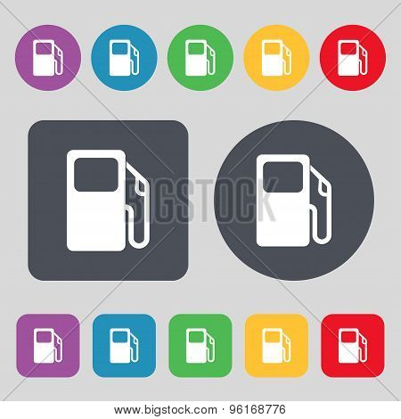 Auto Gas Station Icon Sign. A Set Of 12 Colored Buttons. Flat Design. Vector