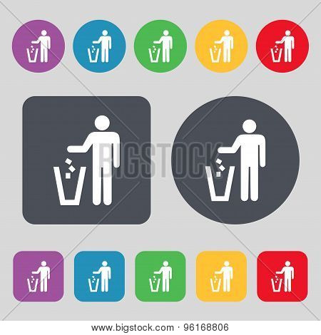 Throw Away The Trash Icon Sign. A Set Of 12 Colored Buttons. Flat Design. Vector