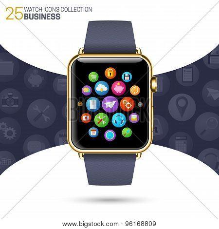 Smart watch with black wristband.