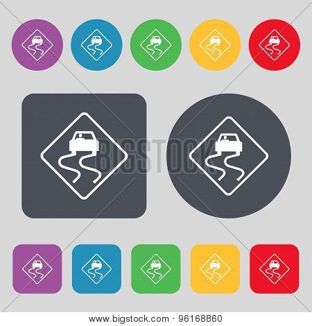 Road Slippery Icon Sign. A Set Of 12 Colored Buttons. Flat Design. Vector