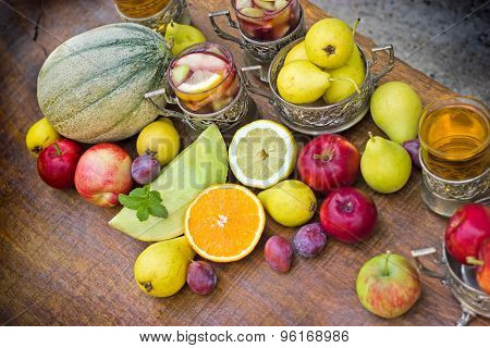 Organic fruits - ingredients of sangria and cider
