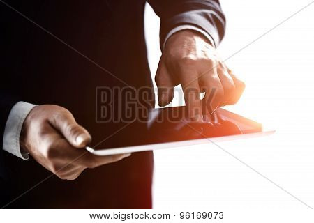 Hand Businessman Holding  Touch Pad