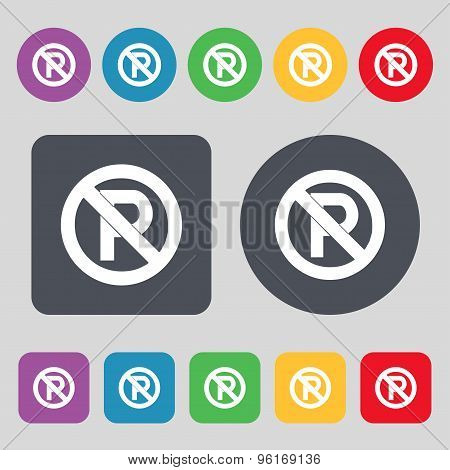 No Parking Icon Sign. A Set Of 12 Colored Buttons. Flat Design. Vector
