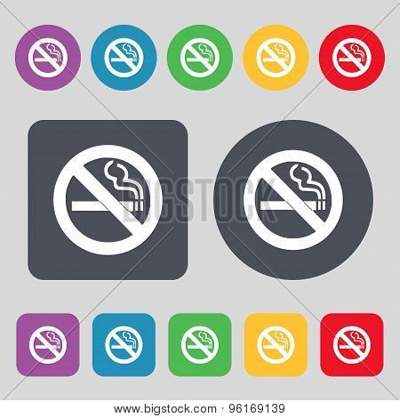 No Smoking Icon Sign. A Set Of 12 Colored Buttons. Flat Design. Vector