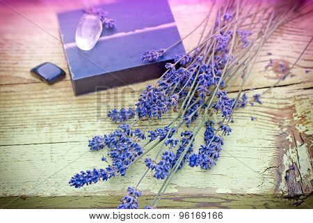 Lavender and lavender soap - spa concept