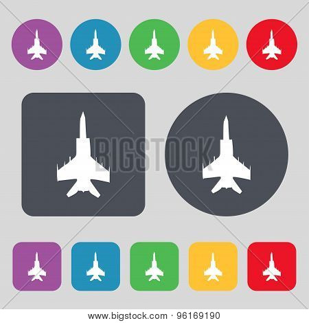 Fighter Icon Sign. A Set Of 12 Colored Buttons. Flat Design. Vector