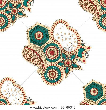 Mehendi tracery pattern, Seamless, handmade hindi