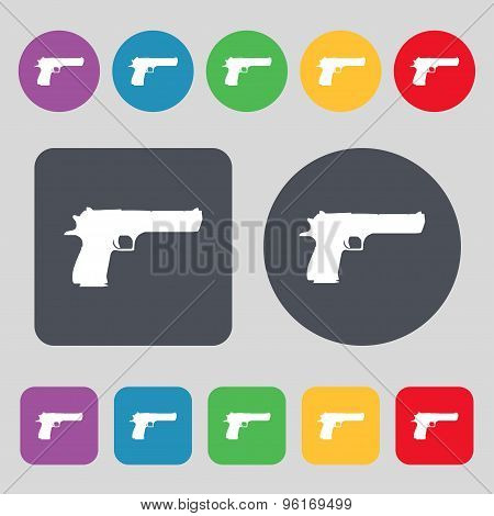 Gun Icon Sign. A Set Of 12 Colored Buttons. Flat Design. Vector