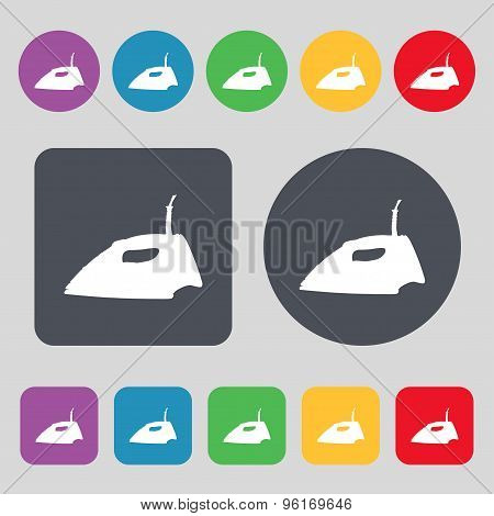 Iron Icon Sign. A Set Of 12 Colored Buttons. Flat Design. Vector