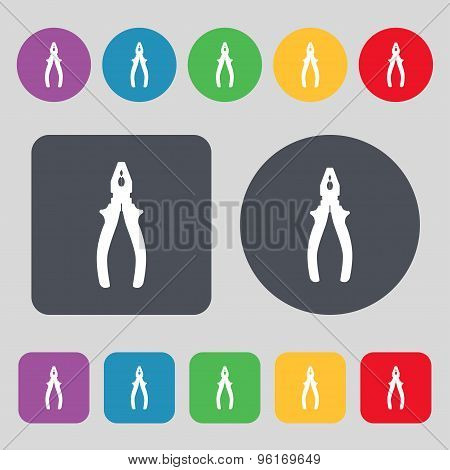 Pliers Icon Sign. A Set Of 12 Colored Buttons. Flat Design. Vector