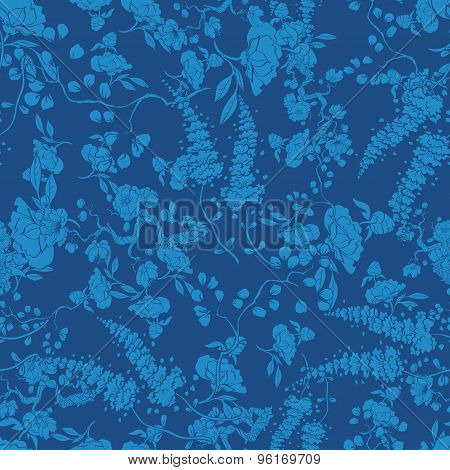 Vector Royal Blue Kimono Floral Texture Seamless Pattern