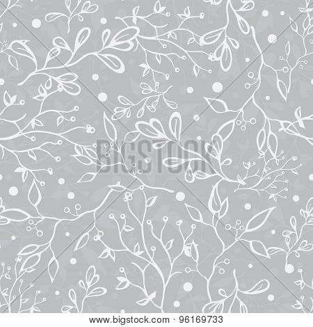 Vector Silver Grey Tree Braches Texture Seamless Pattern