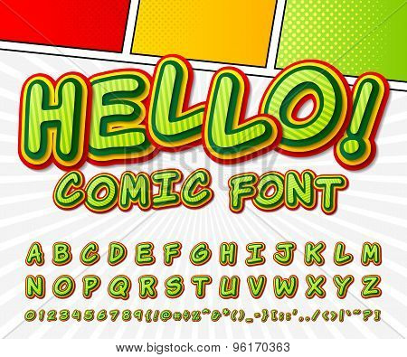 Green Comic Font. Alphabet In Style Of Comics, Pop Art.