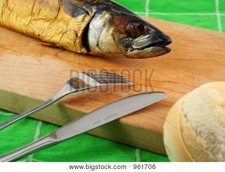 Smoked Fish On Cutting Board