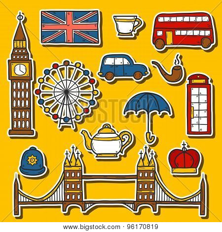 Set of cute hand drawn cartoon stickers on London theme: queen crown, red bus, big ben, umbrella, lo