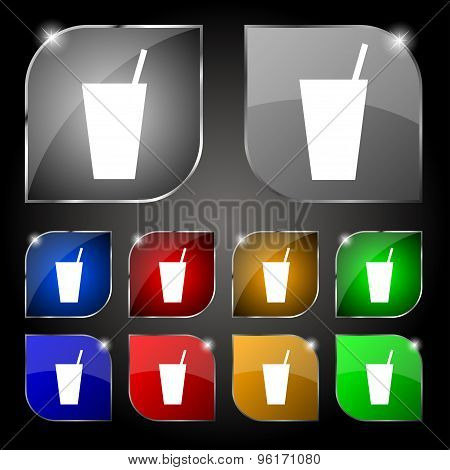 Cocktail Icon Sign. Set Of Ten Colorful Buttons With Glare. Vector