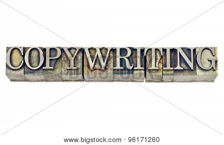copywriting word - isolated word in grunge vintage letterpress metal type stained b\y inks