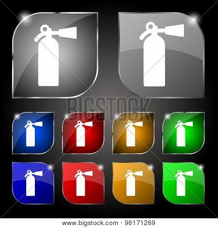 Extinguisher Icon Sign. Set Of Ten Colorful Buttons With Glare. Vector