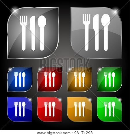 Fork, Knife, Spoon Icon Sign. Set Of Ten Colorful Buttons With Glare. Vector