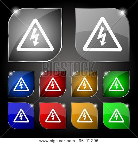 Voltage Icon Sign. Set Of Ten Colorful Buttons With Glare. Vector