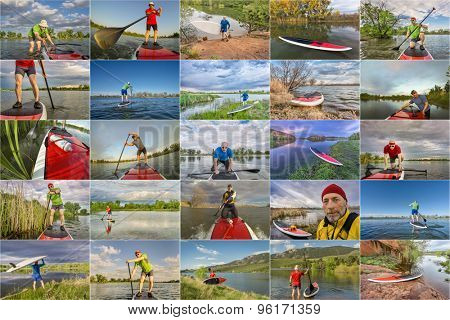 collection of stand up paddling pictures from lakes in Colorado featuring  the same 60 years old male model
