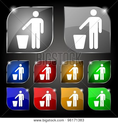 Throw Away The Trash Icon Sign. Set Of Ten Colorful Buttons With Glare. Vector