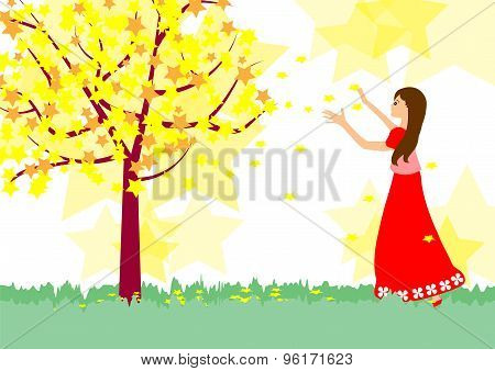 Girl and Star tree