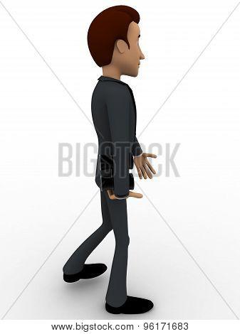 3D Man Holding Black Binocular In Hand Concept