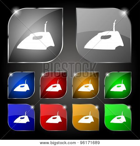 Iron Icon Sign. Set Of Ten Colorful Buttons With Glare. Vector