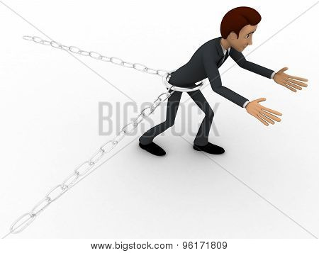 3D Man Bind By Metalic Chain And Try To Escape Concept