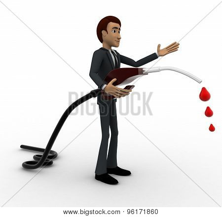 3D Man With Flue Pump In Hand Concept