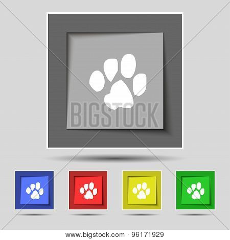 Trace Dogs Icon Sign On Original Five Colored Buttons. Vector