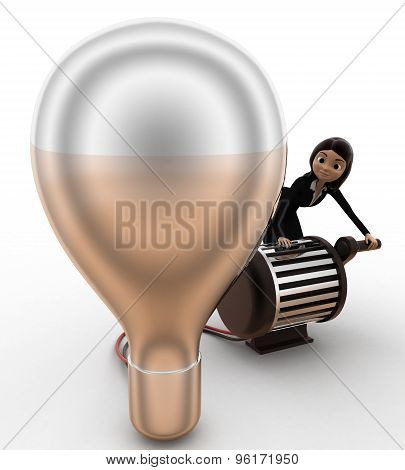 3D Woman Lighting Up Bulb Using Generator Concept