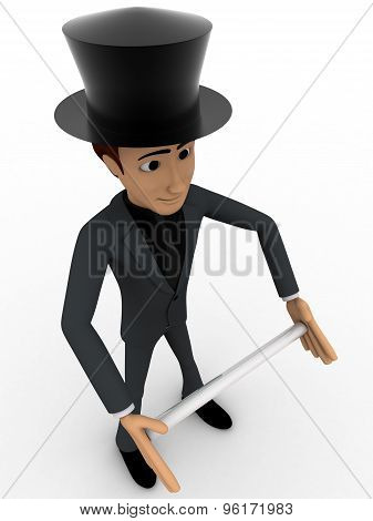 3D Man Magician Wearing Hat And Holding Rod Concept