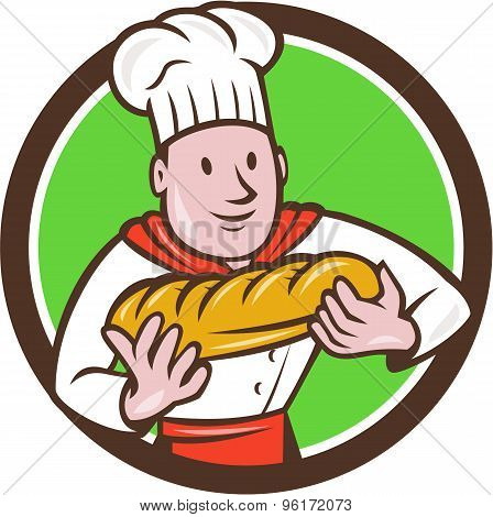 Baker Holding Bread Loaf Circle Cartoon