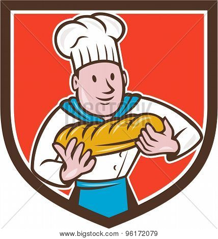 Baker Holding Bread Loaf Shield Cartoon
