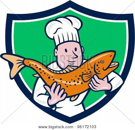 Chef Cook Holding Trout Fish Shield Cartoon