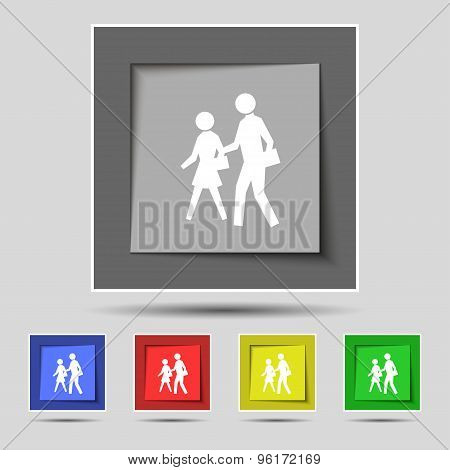 Crosswalk Icon Sign On Original Five Colored Buttons. Vector