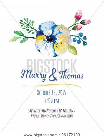 Vector  invitation card with watercolor elements. Wedding collec