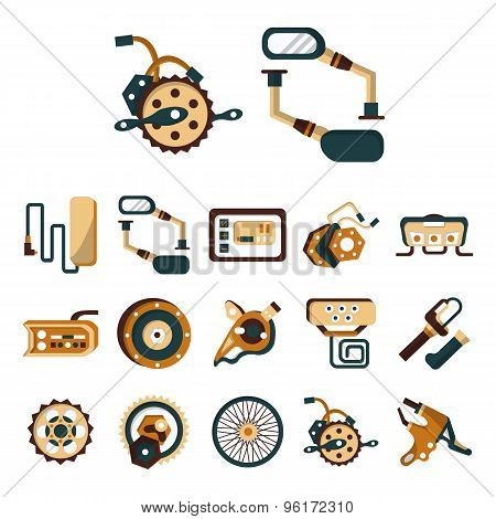 Electric bike details flat color vector icons