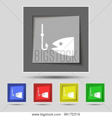 Fishing Icon Sign On Original Five Colored Buttons. Vector