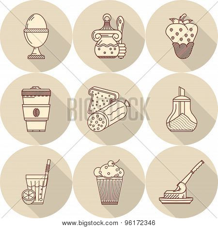 Tasty food flat line vector icons